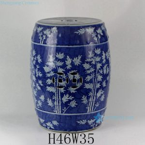 RYLU18-B Hand painted Blue and White Bamboo design Ceramic Garden Stool