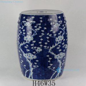 "RYLU18-C 18"" Ceramic Blue & White Plum blossom Garden Stool"