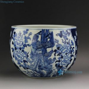 "RYLU21 D11.3"" Blue and White Medallion Flower Bird Pots"