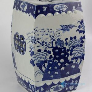 "RYLU23-A 17"" Blue And White Flower Bird Ceramic Square Stool"
