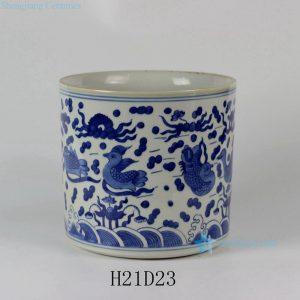 "RYLU24-A D9"" Blue & White Sea Bird Ceramic Brush Holder"
