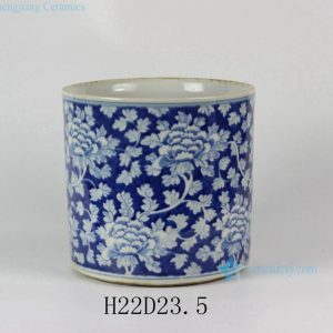 "RYLU24-B D9"" Blue & White Floral design Ceramic Pen Holder"