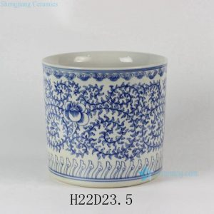 RYLU24-C Blue & White Floral design Ceramic Pen Holder