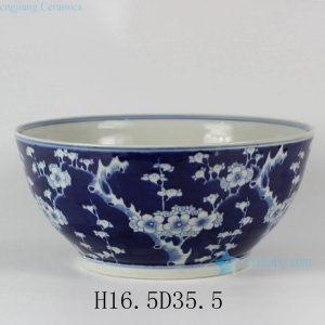 "RYLU26-A D14"" Plum Blossom Blue and White Porcelain Bowl"