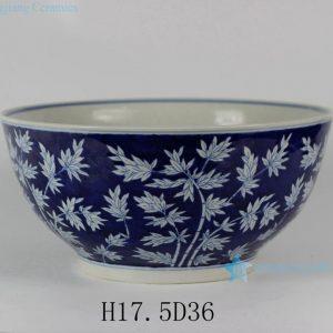 "RYLU26-B 14"" Bamboo Design Blue and White Porcelain Bowls"