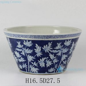 "RYLU27 D11"" Bamboo Design Blue and White Porcelain Planters"
