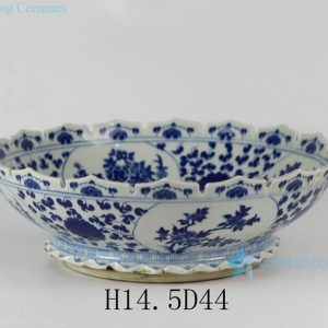 "RYLU28 D17"" Porcelain Flower Design Blue and White Bowls"