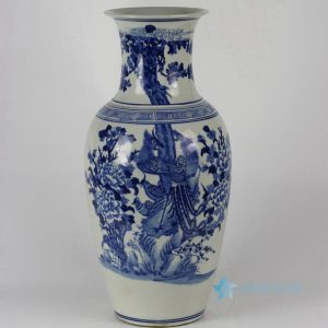 "RYLU33 H19"" Flower Bird Blue and White Porcelain Vases"