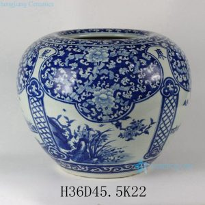 "RYLU38 D18"" Porcelain Medallion Flower Design Blue and White Pots"