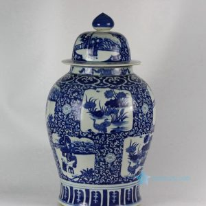 "RYLU46 H27"" Hand painted Medallion Flower Bird Design Blue and White Ginger Jars"