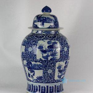 "RYLU46 H27"" Hand painted Medallion Flower Bird Design Blue and White Ginger Jars"