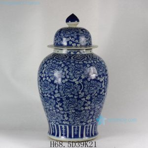 "RYLU47 H27"" Hand painted Flower Design Blue and White Temple Jars"