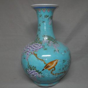 "RYRK06 h21.5"" Blue Grape Bird Porcelain Vases"