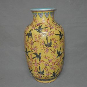 "RYRK11 h16"" Qing reproduction Yellow Swallow Porcelain Vases"
