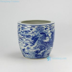 "RZDA04-A D10"" Hand Painted Blue White Dragon Flower Pot"