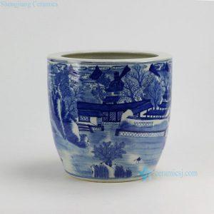 """RZDA04-B D11.3"""" Hand Painted Blue White Landscape Flower Pot"""