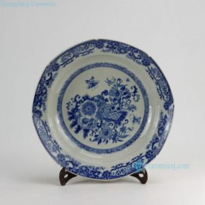 "RZDA08 D15.6"" Hand Painted Blue White Flower Plate"