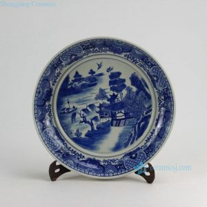 "RZDA09 D14"" Hand Painted Blue White Round Porcelain landscape Plate"