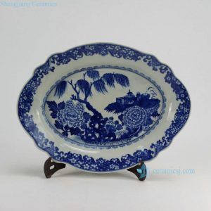 "RZDA10 D16.7"" Hand Painted Porcelain Blue White Floral Oval Plate"