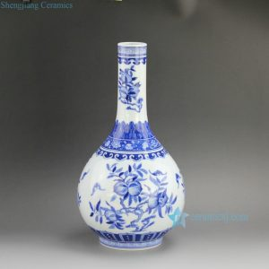 "RZFD01 14.5"" Jingdezhen Qing dynasty Kangxi period reproduction Bright Blue White Peach design Porcelain Vases"