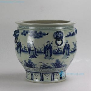 "RZFH01 D18"" 8 Fairy design Ceramic Blue White Bowl"