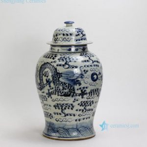 RZFI01 Pair of Dragon design Blue & White Ginger Jars