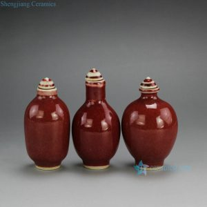 2L02-A Oxblood Red Ceramic Snuff Bottle