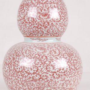 Red floral Ceramic Gourd Vase