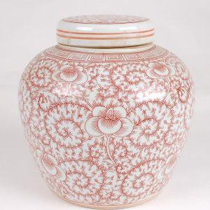 Red floral Ceramic Jar