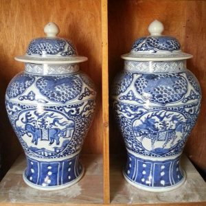 Blue & White Kylin Ceramic Ginger Jar and Vases
