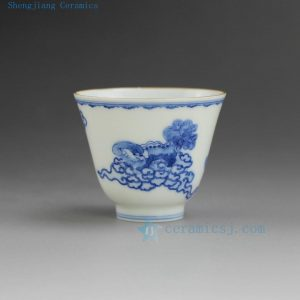 RYBS High quality Blue & White Painted Porcelain Tea Cups