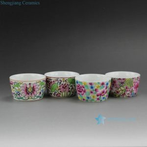 RYIC31 Enamel Painted Flower Porcelain Tea Cups