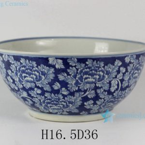 "RYLU31 14"" Hand painted White Blue Floral design Porcelain Fishbowls"