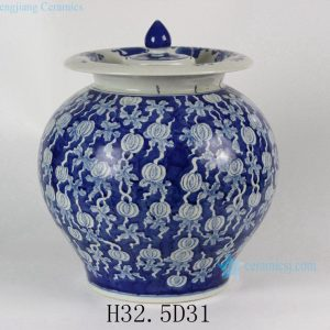 "RYLU41 13"" Hand painted Blue White Fruit melon Ceramic Pickle Jar"
