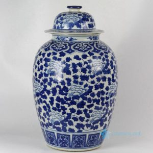 RYLU42 21inch Hand painted Blue & White Floral Ceramic Ginger Jar