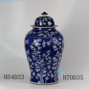 "RYLU45 28"" Ceramic Hand painted Bamboo Blue and White Ginger Jar"
