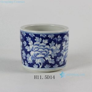 "RYLU51 5.5"" Blue and White Flower design Ceramic Pots"