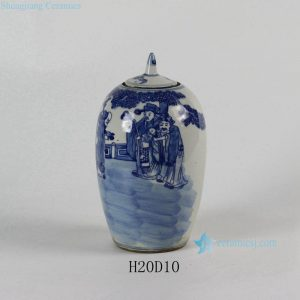 "RYLU53 8"" Small Blue and White Ceramic Pots"