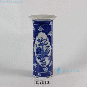 "RYLU54 10.6"" Blue and White Medallion Eight Treasure Vases"
