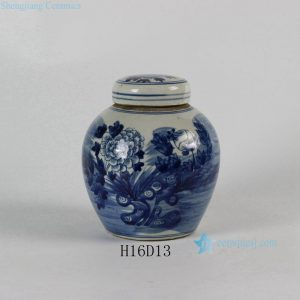 RYLU55-B Blue & White Flower Lidded Jar