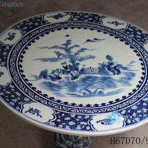 RYLU56-A Blue and White Children Painted Ceramic Table