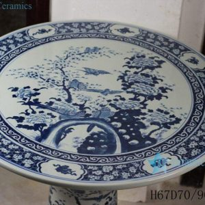 RYLU56-B Blue and White Floral Ceramic Table