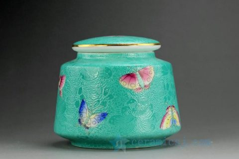 RYMY19 Hand Painted Butterfly Tea Jars