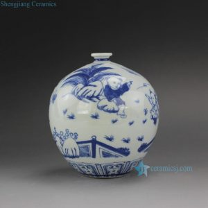 "RYUJ17 5.5"" Blue White Children Ceramic Vase"