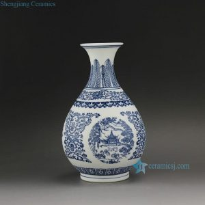 "RYUJ18 9.5"" Blue White Unglazed Ceramic Vase"