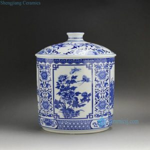 "RZAA01-B 11.6"" Blue White Medallion Flower Butterfly Ceramic Pots"