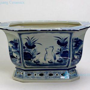 """RZAJ16 9"""" High quality hand made Blue and White Flower Pot Porcelain Planter"""