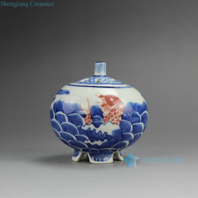 Rzbp04 Blue And White Ceramic Burner Sea Fish Design