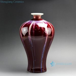 "RZCN01-B 12"" High temperature Transmutation Glazed Red Ceramic Vase"