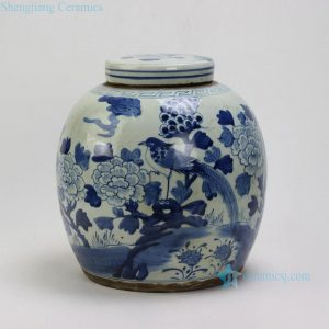RZEY03-B Flower Bird Design Flat Top Lidded Blue & White Jars